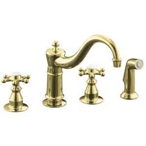 polished brass kitchen faucet shop kohler antique vibrant polished brass 2 handle low arc kitchen faucet at lowes