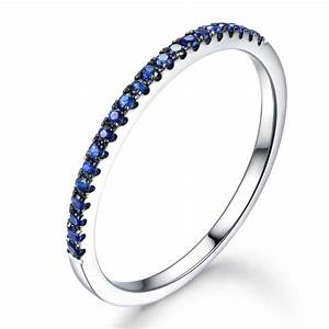 Sapphire wedding ring 14k white gold half eternity thin for Wedding band for engagement ring