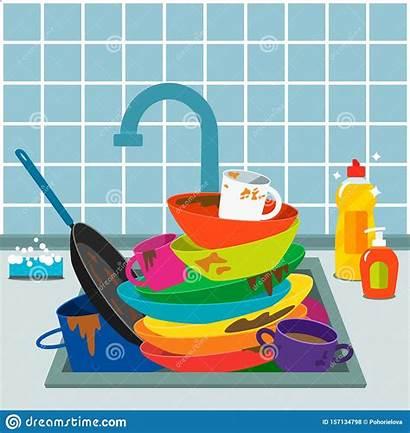 Dirty Dishes Sink Kitchen Tap Pile Dishwashing