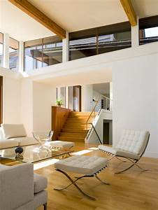 Modern, Living, Room, With, High, Ceiling, And, Clerestory, Windows