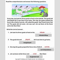 Reading Comprehension Jim And His Goats Worksheet  Turtle Diary