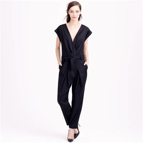 jcrew jumpsuit j crew collection tropical wool jumpsuit in black lyst