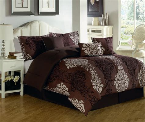 dark brown and green bedding set with white combination on