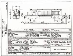 Mp Sd40-2  3090-3215 - Diagram Dated 7  1  77