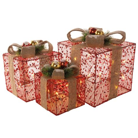 light up christmas l post set of 3 red sequin christmas xmas presents gift parcels