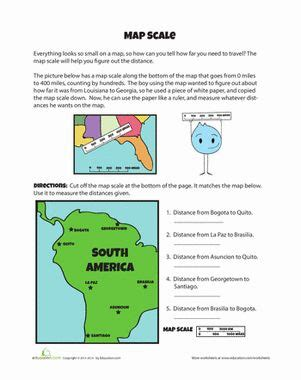 map scales student fourth grade and worksheets