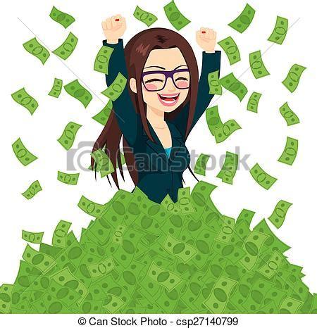 EPS Vectors of Super Rich Successful Businesswoman - Happy ...