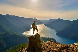 beautiful, forest, climb, sky, mountains, woman, clouds ...