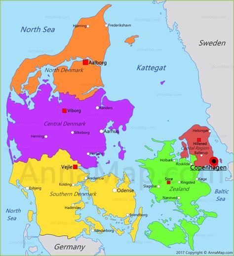 denmark map map  denmark annamapcom