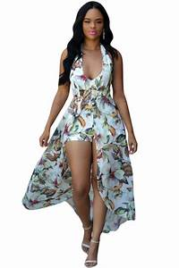 Womens Halter Floral Backless Romper With Maxi Overlay