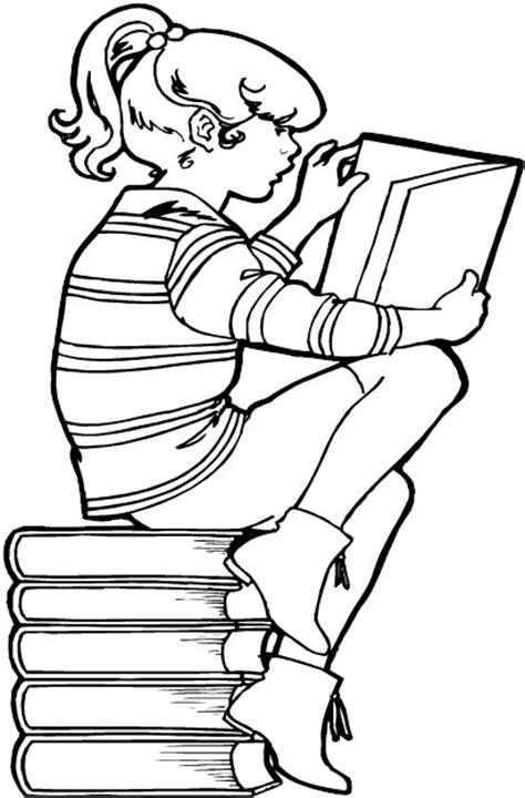 Free Coloring Pages - Girl Reading