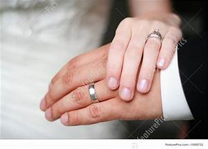 celebration bride and groom wedding ring hands stock With wedding rings on hands