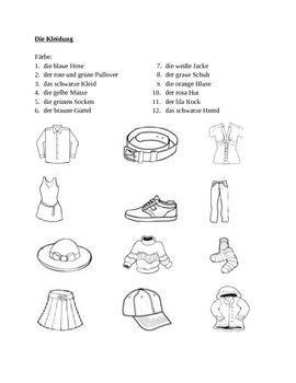 kleidung clothing  german farbe color worksheet