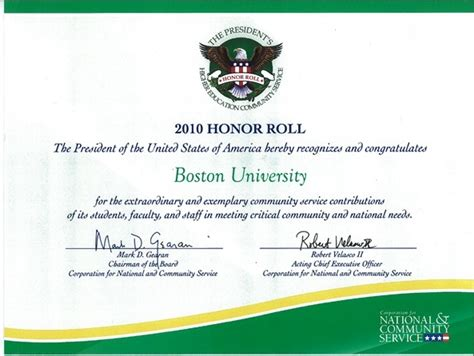 National & Community Service Presidential Honor Roll Award