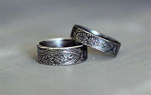 sterling silver wedding rings paisley embossed rustic With promise engagement and wedding ring set