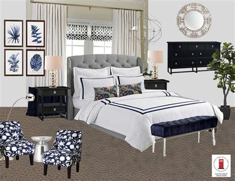 Navy White And Gray Transitional Master Bedroom Room By
