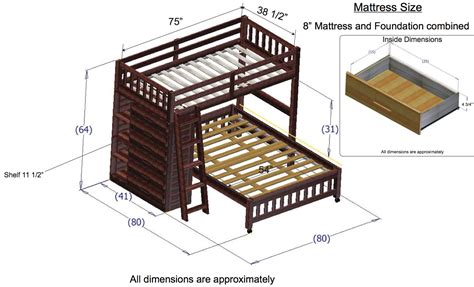 Bunk Bed Dimensions by Discovery World Furniture Merlot Loft Beds