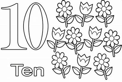 Coloring Number Pages Learning Numbers Ten Simple