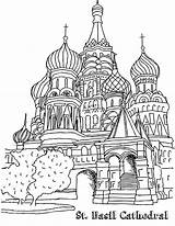 Cathedral Basil Coloring Moscow Drawing Lesson Easy sketch template