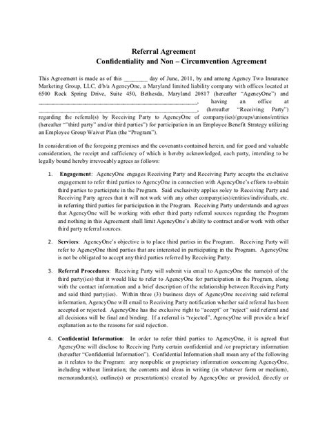 final agency   referral agreement
