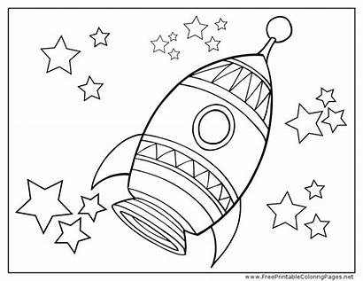 Rocket Coloring Ship Space Pages Outer Template