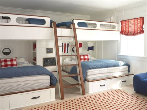 Opting for a rock wall in lieu of a traditional ladder helped to transform these top bunks into a private. bunk bed kids beach style with traditional kitchen sets themed wall decals
