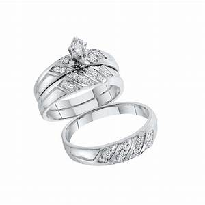 10kt solid white gold his hers diamond matching bride and With wedding ring for bride