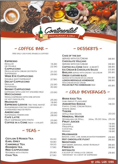continental menu coffee drinks kenton  boesmans
