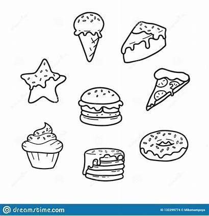 Junk Drawing Ice Pizza Cream Cake Donut