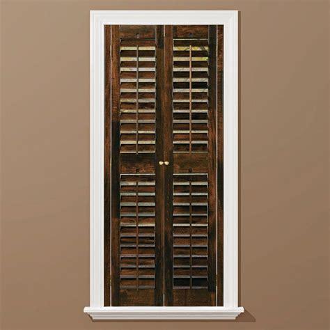 window shutters interior home depot homebasics plantation walnut wood interior shutters