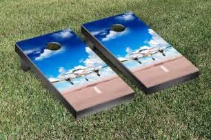 Twin Engine Aircraft Themed Regulation Cornhole Game Set