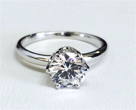 14k Solid White Gold Round Cz Solitaire Engagement Ring