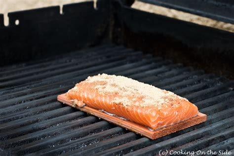 how to grill salmon on a gas grill recipe cedar planked salmon with brown sugar cooking on the side