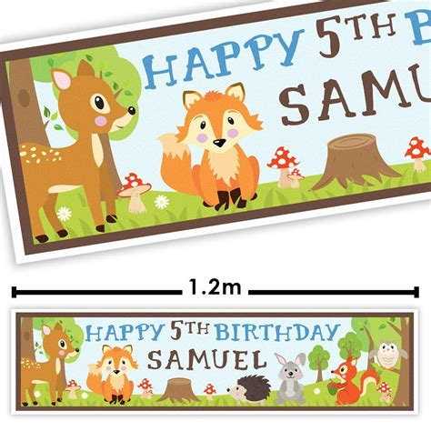 Personalised Woodland Animals Party Banner Fabulous