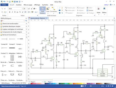 le bureau industrielle logiciel de schéma électrique travaillant sur mac