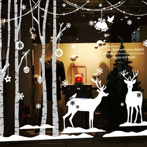 christmas vinyl wall decal forest winter deer tree art