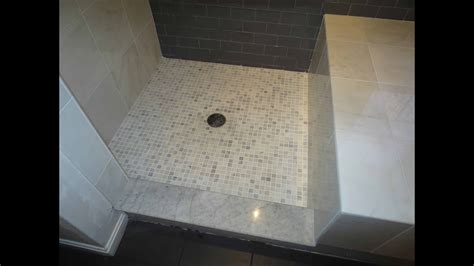 complete bathroom install subway glass tile  carrera