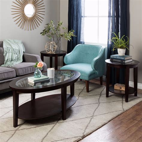 Oval Coffee Table Round Side Tables Set Wood & Glass