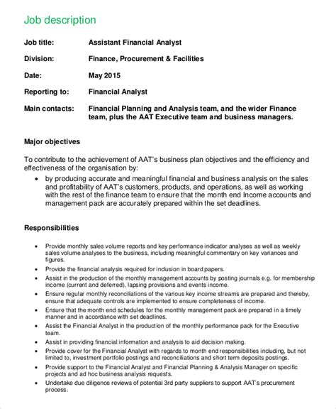 Financial Analyst Description Duties by Sle Financial Analyst Description 8 Exles In Pdf Word