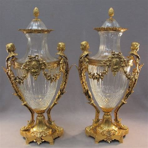 Glass Urn Vase by 20th C Baccarat Pair Of Glass Bronze Urns For The
