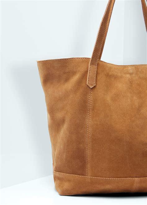 mango leather shopper bag  brown lyst