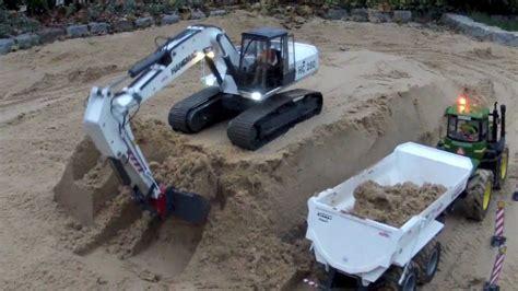 rc excavator loading dumper youtube