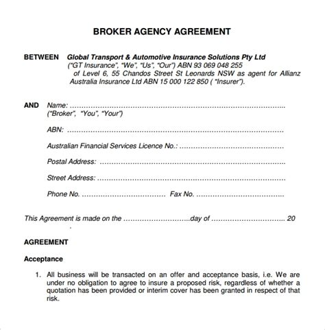business agency agreements word  pages