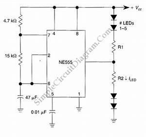 555 ic led flasher for up to 10 leds simple circuit diagram With 555 flasher circuit