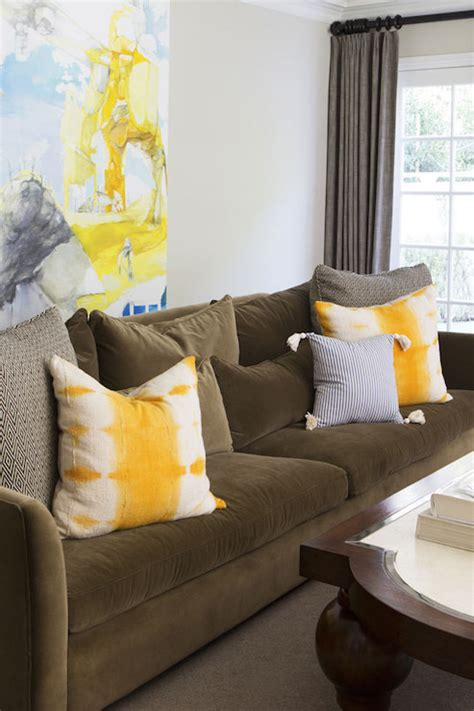 pillows for living room sofa brown sofa with yellow pillows contemporary living room