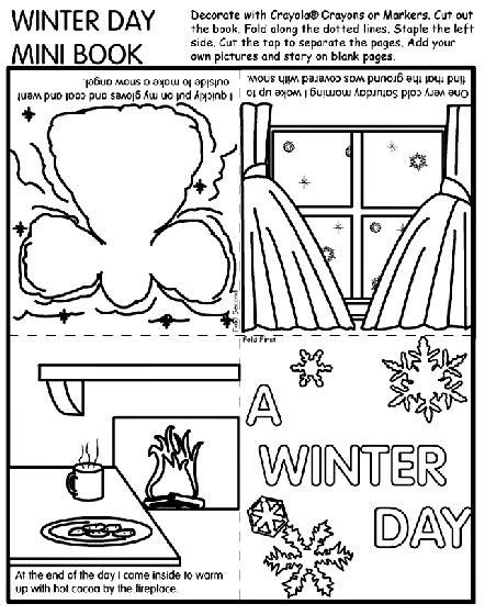 disegni da colorare once upon a time winter day mini book coloring page wintertime dec