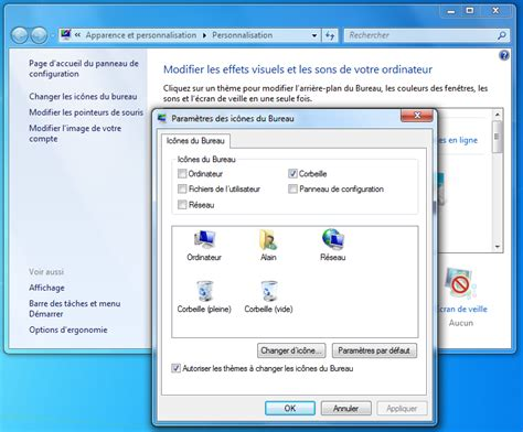 icone bureau disparu comment afficher la corbeille windows 7