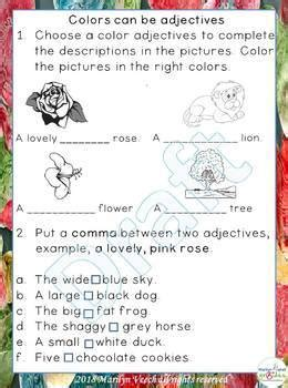 grade  adjective worksheets common core worksheets