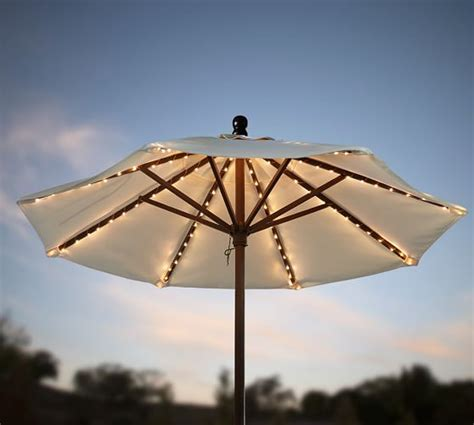 String Lights For Patio Umbrella by Mini Led Umbrella String Lights Pottery Barn