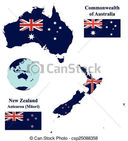 clipart vector  australia   zealand map flag